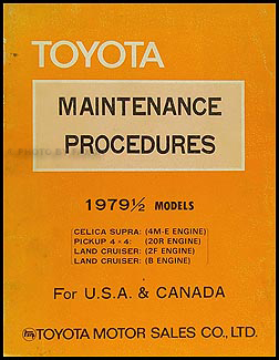 1979 Toyota Supra Maint. Procedures Manual Original No. 98228