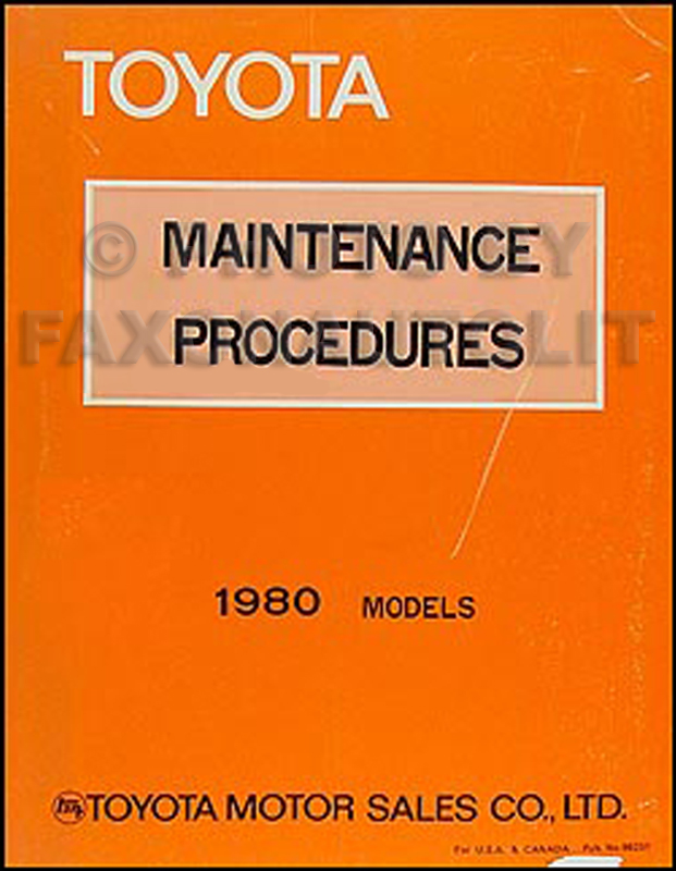 1980 Toyota Maintenance Procedures Manual Original No. 98231