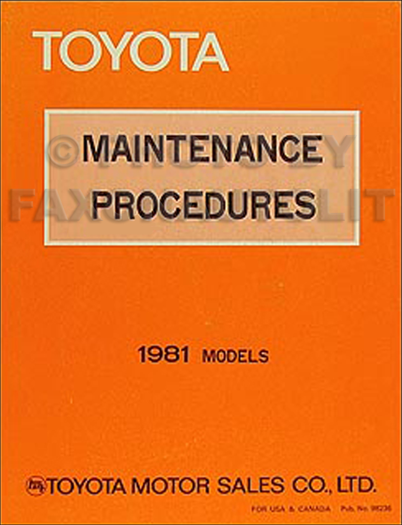 1981 Toyota Maintenance Procedures Manual Original