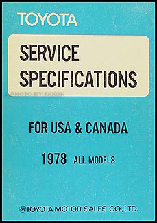1978 Toyota Pickup Service Specs Manual Original No. 98257