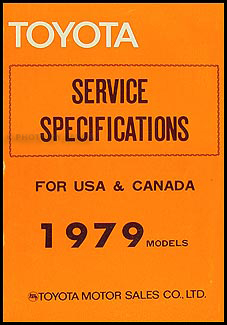 1979 Toyota Service Specifications Manual Original No. 98314