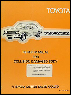 1980-1982 Toyota Tercel Body Manual Original
