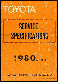 1980 Toyota Service Specs Manual Original No. 98377