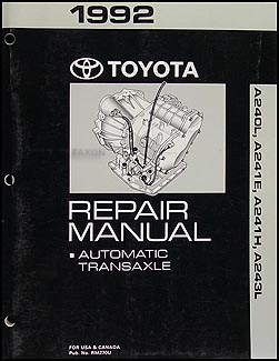 1992 Toyota Celica Corolla MR2 Automatic Transmission Repair Shop Manual