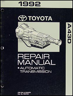 1992 Toyota 2WD 4 Cyl. Truck Automatic Transmission Repair Shop Manual